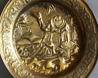 Desert scene vintage brass wall hanging plate. Dromedary camels, embossed, etching, animal. Metal trinket tray, African, Bedouin, home decor