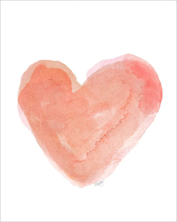 Coral Watercolor Heart 8x10 Art Print Coral By