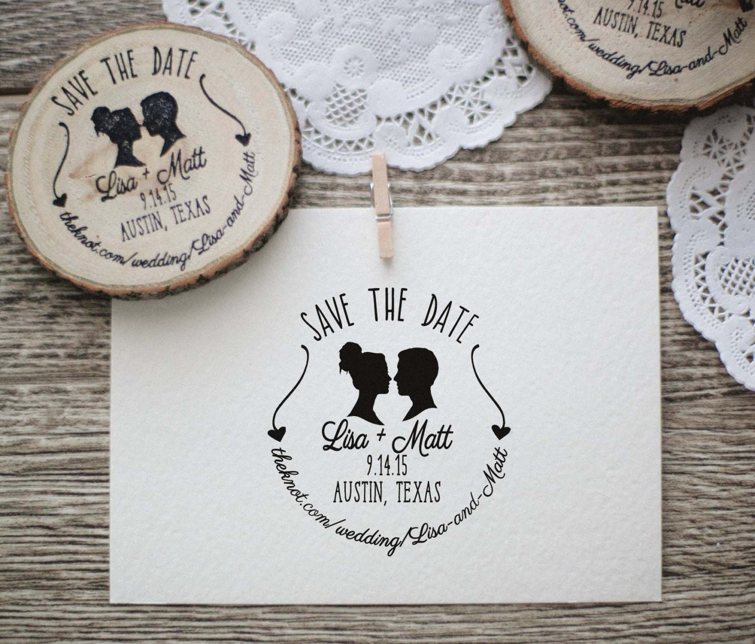 Wedding Invitation Stamp, Save the Date, Silhouette Couple Rubber
