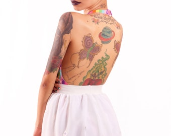 White Chiffon Skirt Lavender Daisies -made to order-