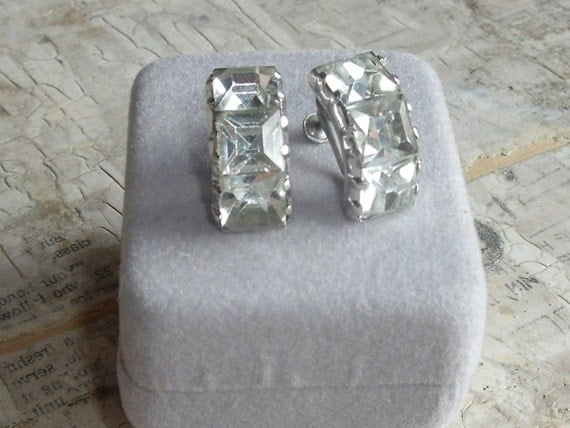 Vintage Sterling Silver And Rhinestone Eisenberg Screw Back Clip Earrings 1930s