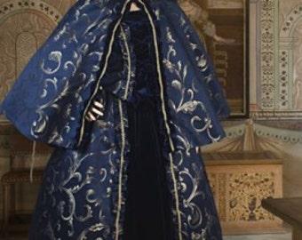 Renaissance Costume Short Cape Cloak Handmade Brocade