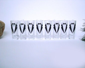 8 Personalized Shot Glasses - Bachelor Party Shot Glasses - Wedding Party Glasses - Choose Your Suit Style