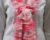 Ruffled Scarf - Knit Ruffled Scarf - Pink - Oceanlvrcrafts