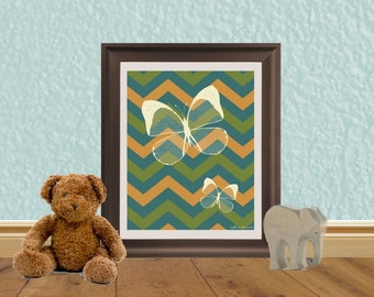 Butterfly Chevron Art Print - Children's Art - Bathroom Art - Hallway Art - Digital Download Art Print 8 X 10 Poster Notecard