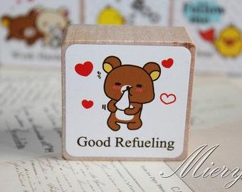 1 Piese Bear Stamp - Korean Rubber Stamp - Wood  Stamp - Cartoon - Good Refueling