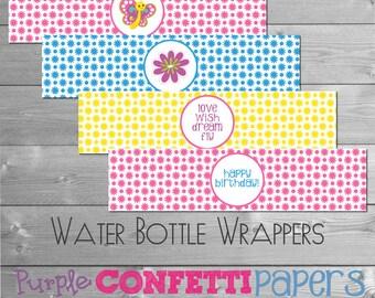 Printable Butterfly Water Bottle Wrapper, Water Bottle Label  - Pink, Yellow, Blue, Purple, Pastels  INSTANT DOWNLOAD DIY