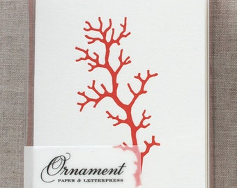 Coral Letterpress Card Set