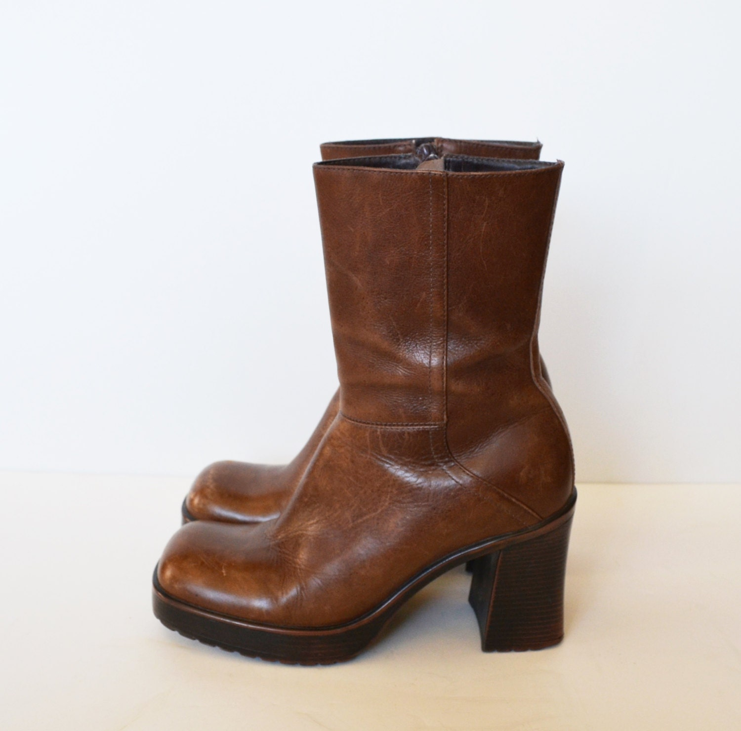 chunky heel boots brown boots leather boots by