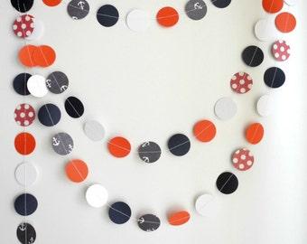 Nautical garland, Navy blue red white circle garland, anchor polka dots garland, party decoration, kids room decor , blue nursery decoration