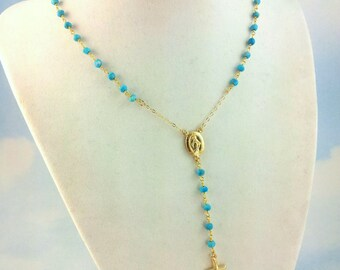 Cross Necklace Women Turquoise Rosary Necklaces Custom Rosaries Gold Filled Miraculous Womens Lariat Jewelry Gift