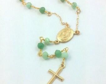 Chrysoprase Rosary Necklace 14kt Goldfilled Cross Pendant Rosaries Miraculous Medal Small Cross Necklace