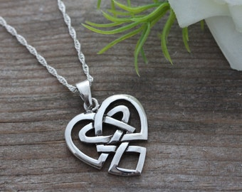 Irish Jewelry, Sterling Silver Celtic Heart Anniversary, Celtic Sisters knot Necklace, Most Popular Heart Celtic knot, Celtic Jewelry. 099