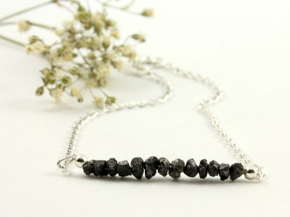 Rough Diamond Bracelet on Silver - Black Raw Diamonds Uncut, Unfinished - Bridesmaids - April Birthstone