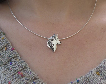 Siberian Husky profile - sterling silver pendant and chain.