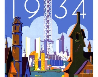 CHICAGO TRAVEL POSTER 1934 World's Fair Digitally Remastered Fine Art Print / Poster