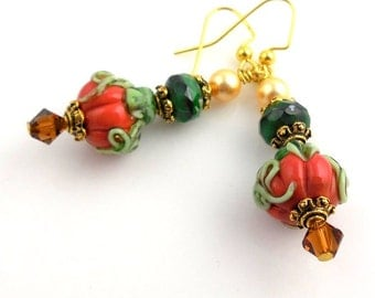 Orange and Green Pumpkin Lampwork  Earrings, Halloween Earrings, Lampwork Earrings, Holiday Jewelry, Gifts, Fashion Accessories, Casual Wear