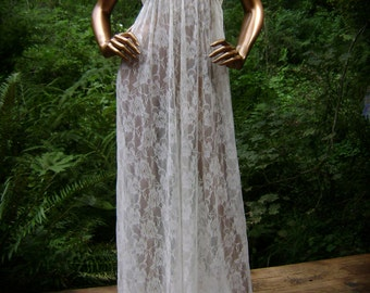 Bridal Nightgown in Grecian Design made of Cream Mesh Floral Lace with Hand Embroidery