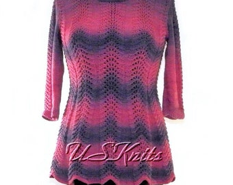 Knit tunic, long pullover, cotton pullover, women knitwear, pink top, purple tunic, long sleeved pullover, lace pullover, gift for women