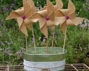 Rustic Burlap Purple Wedding Pinwheel Decoration