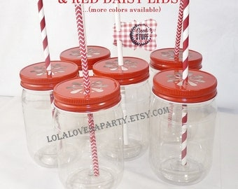 PLASTIC Mason Style JARs 6 with New RED Daisy LiDS & Free Labels...Trendy Fun Vintage Inspired ...InSeRt StRaW in CenteR NoW UNbreaKabLe