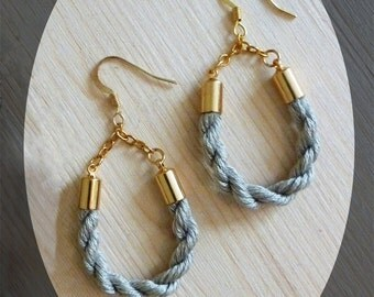 Taupe Teardrop Cotton Candy Rope Earring -- Handmade Jewelry Gifts