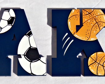 Sports Ball Collage Over Navy Painted Wall Letters - Football, Soccer, Basketball and Baseball Letters