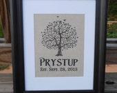 Personalized Linen Name Print - Wedding Gift - Wedding - Tree