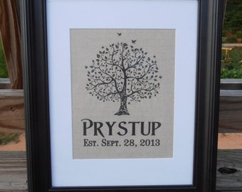 Personalized Linen Name Print - Wedding Gift - Wedding - Tree