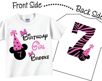 7th Birthday Shirts and Tshirts with Black and Pink
