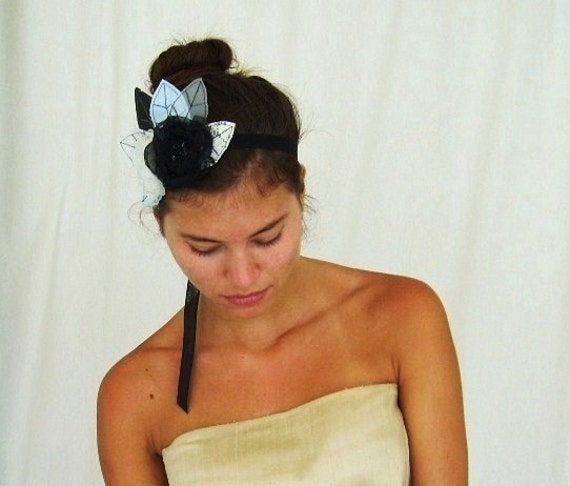 Flapper Style Headpiece Black White and Blue Organza Flower  Hair Accessory  - Bridal Sash with Lace Leaves by FairytaleFlower