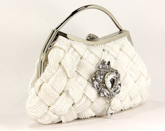 Bridal Clutch With Exquisite Swarovski Crystal Accent, White Evening Bag, Purse