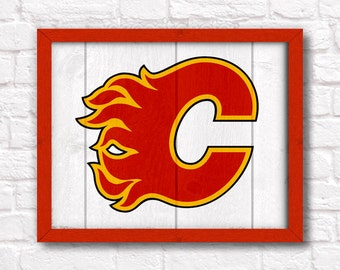 CALGARY FLAMES rustic handmade painted wood sign - Boys room Sports Bar Man cave decor Flames hockey fan wall art - Fathers Day gift for Dad