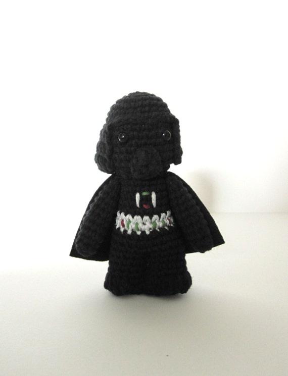 Darth Vader inspired amigurumi.  Star wars crochet softy. Star wars crocheted push.