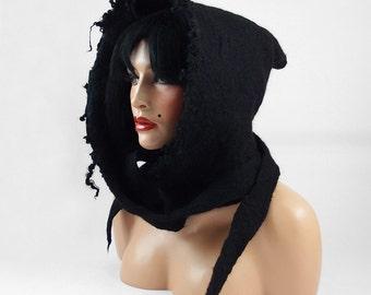 Felted Hood Felted Hat Felt Hoody Nunofelt Hoodie ETHNO BEAUTY Art Hat Wild hat hats Nuno Felt
