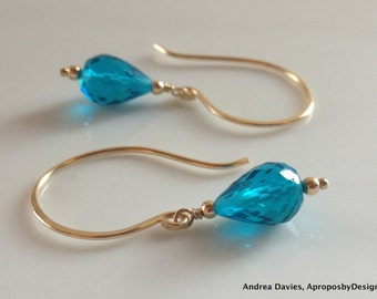 Blue Quartz Earrings 14k Gold Fill, Handmade Blue Gemstone Dangle Earrings, Blue Stone Earrings, Under 50