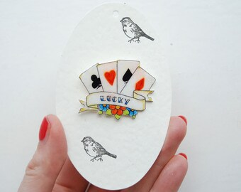 Hand drawn deck of cards vintage tattoo brooch