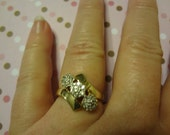 10k Gold Diamond Cluster Ring 21 Diamonds Engagement Ring Anniversary Ring Size 7 Wedding Bride Groom Sale Coupon