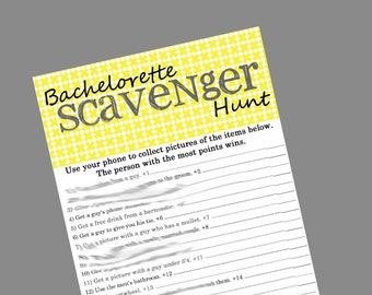 INSTANT DOWNLOAD - Bachelorette Party Game - Scavenger Hunt Yellow Grey