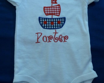 Onesie appliqued with sailboat