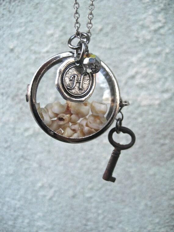 Custom Baby teeth necklace for Jennifer - Personalised Shadow box keepsake necklace