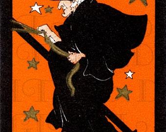 RARE Flying Among Stars.  Wonderful Witch Bridge Tally. Halloween Digital Download.  Halloween Vintage Illustration