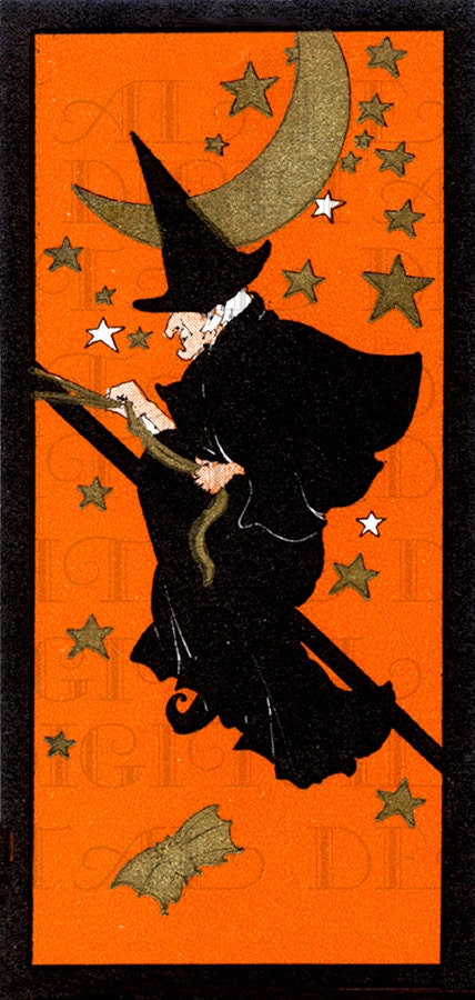rare flying among stars wonderful witch by