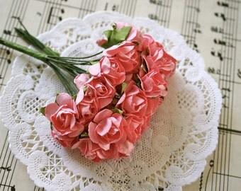 24 Handmade Paper Flowers Roses, Coral Pink