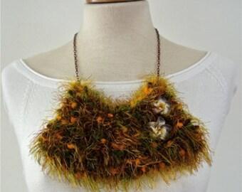 Bib Necklace - statement necklace - crochet necklace - textile asymmetric necklace - fabric necklace - floral