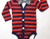Red Baby Cardigan and Bow Tie Onesies - Red Stripes with Grey Polka Dot Bow Tie -cardigan onesies