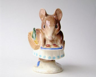 Beatrix Potter, Collectible Figurine, Appley Dapply, Bottle Out, Beswick England, Vintage Porcelain, Cute Mouse, Baby Room, Beswick Pottery