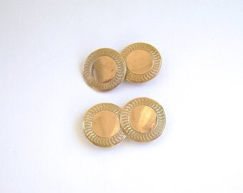 Antique 10K Gold Cufflinks, Gold Cuff Links, Double Sided Cufflinks, Guilloche, Gold, Patterned, Engine Turning, Round