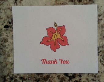 Printable Hibiscus Thank you Cards