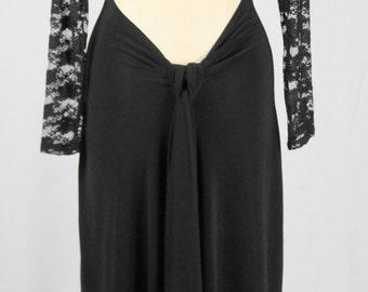 Baylis & Knight Black Lace BACKLESS Long Sleeve FISHTAIL Wiggle  Pencil KNEE Dress Dita Burlesque